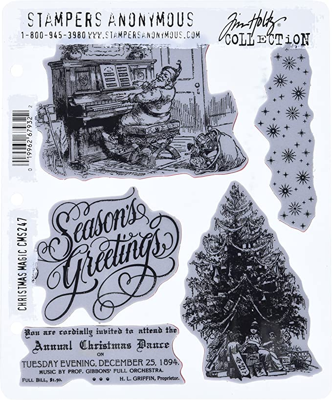 Stampers Anonymous CMS313 Tim Holtz Cling Stamps 7X8.5-Carved Christmas #1,