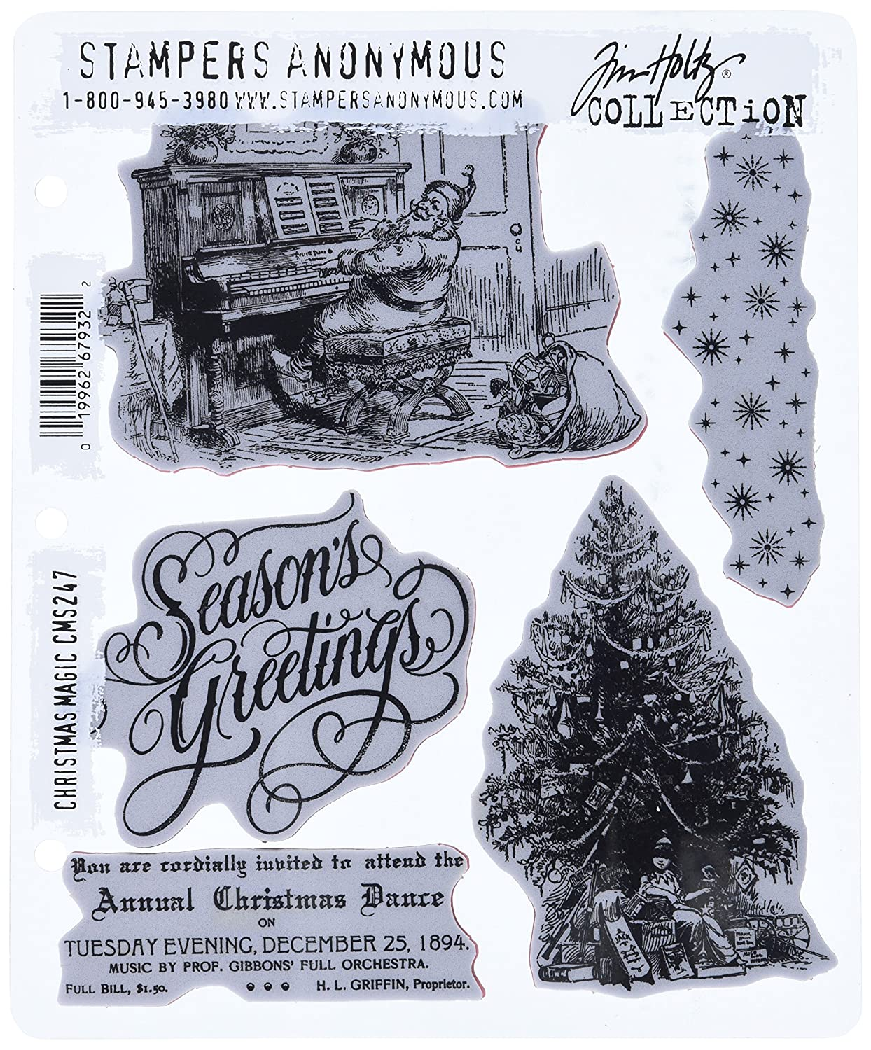 Stampers Anonymous Tim Holtz Cling Rubber Stamp Set, 7 by 8.5, Christmas Magic 7 by 8.5 CMS-247