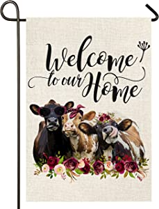 Atenia Welcome Floral Cows Garden Burlap Flag, Double Sided Welcome Garden Outdoor Yard Flags for Summer Decor (Garden Size - 12.5X18)
