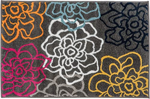 Rugshop Contemporary Modern Floral Flowers Area Rug 2 x 3 Multi