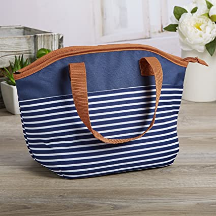 Fit & Fresh Samantha Insulated Lunch Bag, Stylish Lunch Tote, Navy Nautical  Stripe with Brown Trim