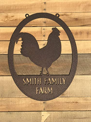 Personalize CHICKEN KITCHEN SIGN Name WALL ART Hanger WOOD Plaque Rooster Decor