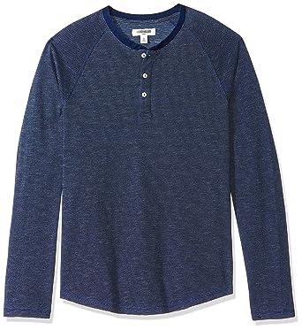 31b75bfe7e9a Goodthreads Men's Long-Sleeve Henley, Dark Indigo Feeder Stripe, X-Small