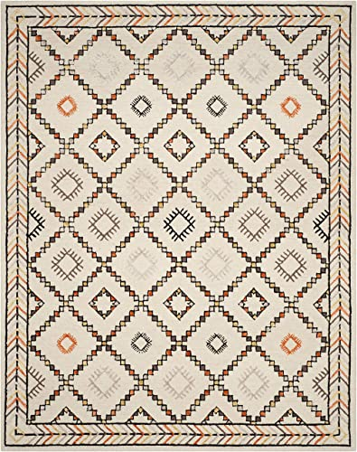 Safavieh Bellagio Collection BLG548A Ivory and Multi Premium Wool Area Rug 8 x 10