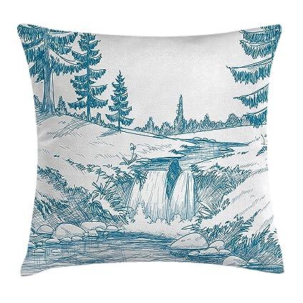 Rústico manta almohada Funda de cojín por Ambesonne, rural bosque y cascada con efecto de