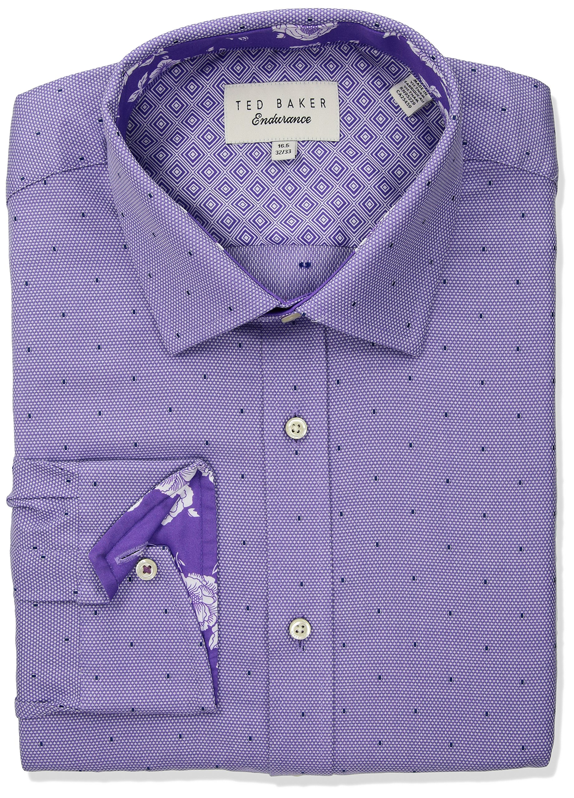 Ted Baker Men's greave Slim Fit Dress Shirt, Purple, 16'' Neck 34''-35'' Sleeve
