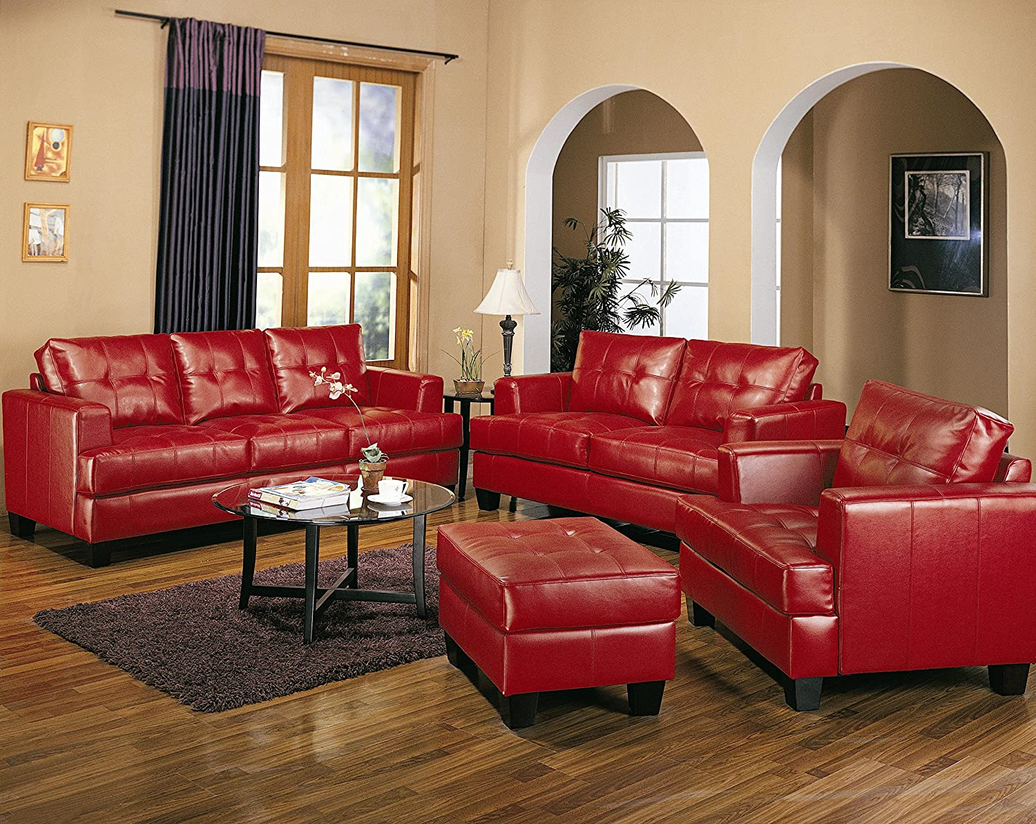 Amazon com coaster home furnishings samuel living room set with sofa love seat chair and ottoman in red premium bonded leather kitchen dining