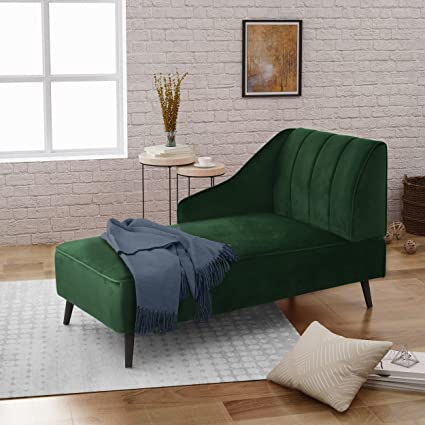 Great Deal Furniture | Indira | New Velvet Chaise Lounge | in Emerald