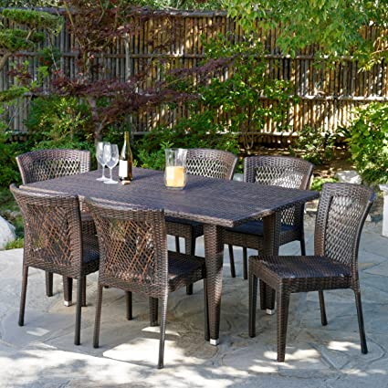 Dana Point 7 Pc Outdoor Patio Brown Wicker Dining Set