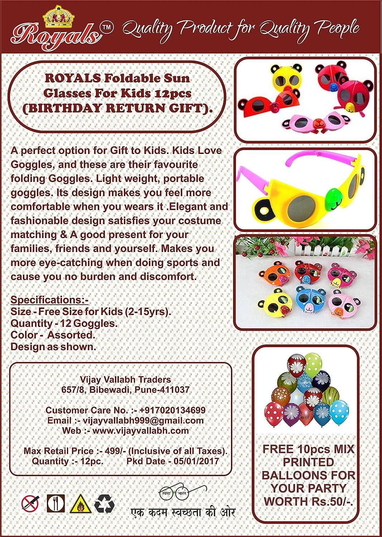 Royals Foldable Sun Glasses For Kids 12pcs Birthday Return Gift