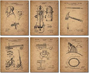 BigWig Photos Fireman Patent Wall Art Prints - Firemen Firefighter Gift Set of 6 (8 inches x 10 inches)