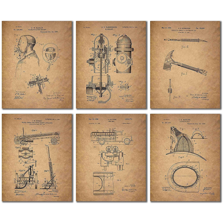 14ec80bf Amazon.com: BigWig Photos Fireman Patent Wall Art Prints - Firemen  Firefighter Gift(8 x 10): Posters & Prints