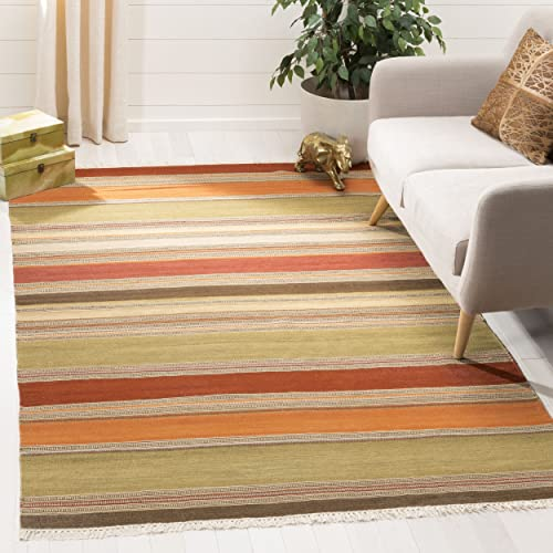 Safavieh Striped Kilim Collection STK317A Hand Woven Green Premium Wool Area Rug 9' x 12'