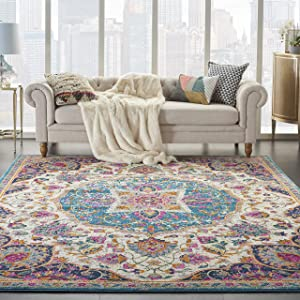 Nourison Passion Ivory/Multi Traditional Persian, Vintage Area Rug 9'X12'