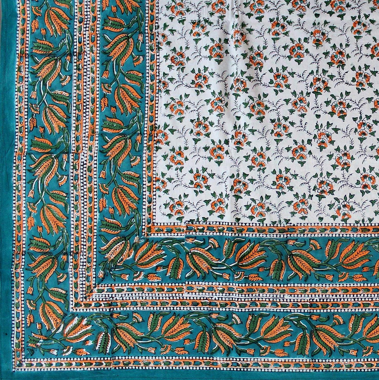 Pink Green India Arts Handmade Hand Block Print 100/% Cotton Eternal Floral Vine Tablecloth 60x60