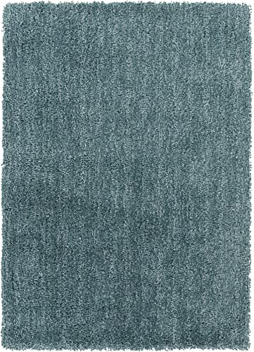 Surya Mellow MLW-9014 Shag Hand Woven 100 Polyester Pale Blue 7 6 x 9 6 Area Rug