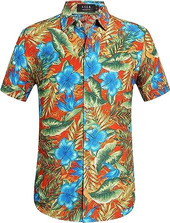 SSLR Camisa Hawaiana Hombre Manga Corta Aloha Luau Casual Tropical Estampado Flores (XXXX-Large, Naranja): Amazon.es: Ropa y accesorios