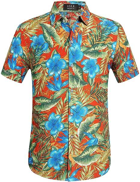 6007bb0f80 SSLR Camisa Hawaiana Hombre Manga Corta Aloha Luau Casual Tropical Estampado  Flores (Medium