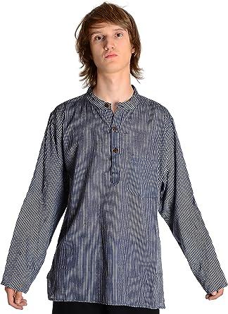 HEMAD/Billy Held - Camisa casual - Rayas - cuello mao - Manga Larga - para hombre: Amazon.es: Ropa y accesorios
