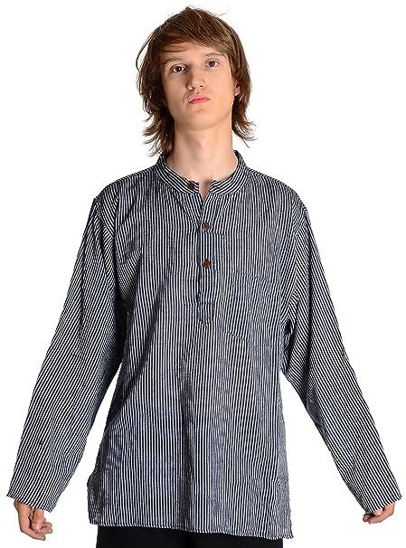 HEMAD Billy Held - Camisa Casual - Rayas - Cuello Mao - Manga Larga - para  Hombre  Amazon.es  Ropa y accesorios 0fd54113d15
