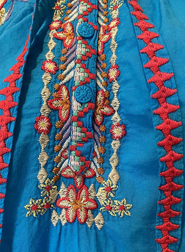 Johnny Was dragonfly cotton cerelean blue Embroidered Blouse  S