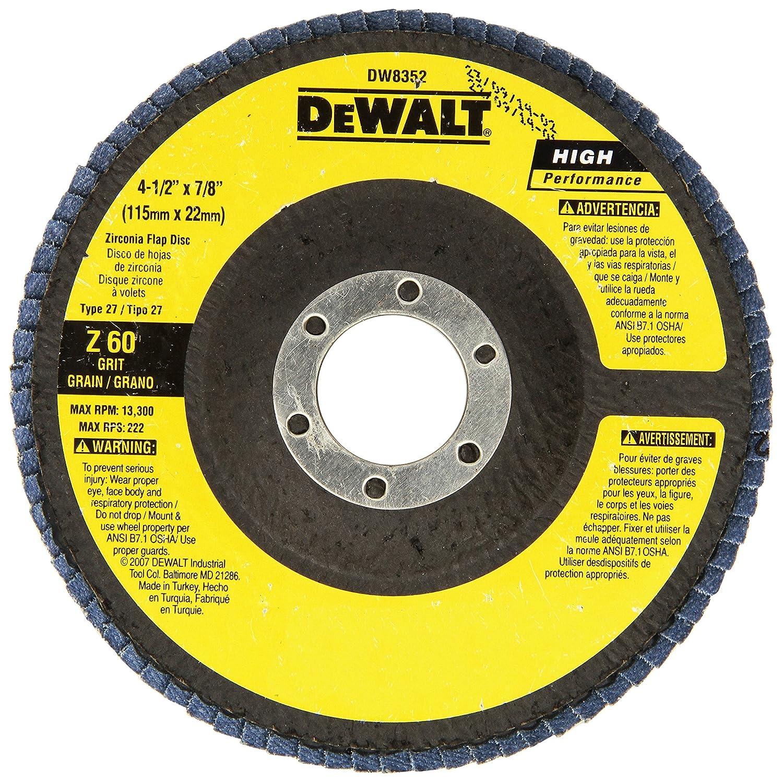 DEWALT DW8352 4-1//2-Inch by 7//8-Inch 60G Type 27 Flap Disc