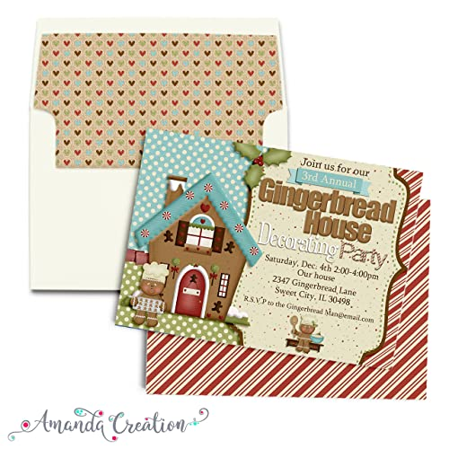 Amazon Com Gingerbread House Decorating Party Invitation Handmade