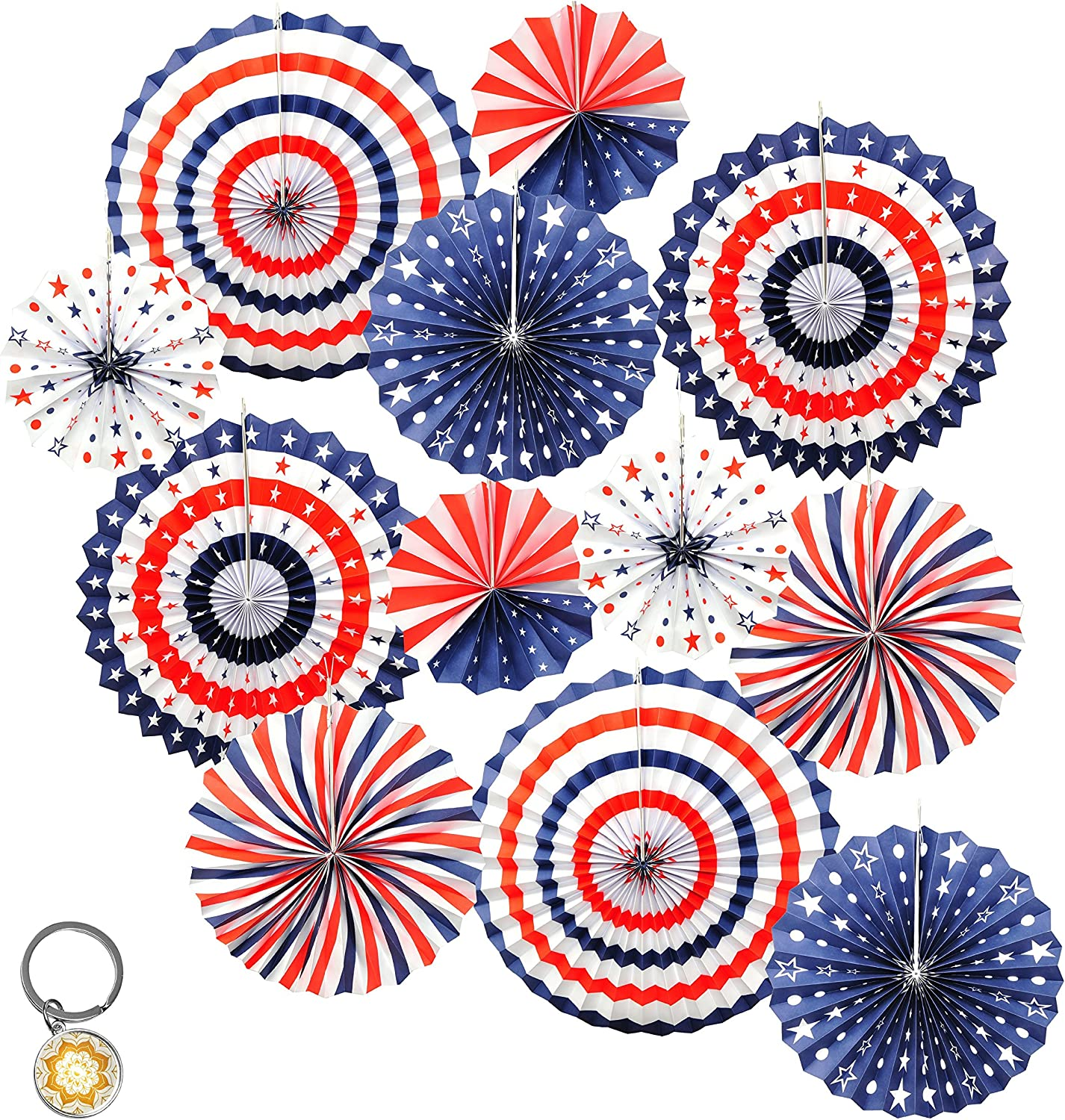 Mandala Crafts Patriotic Red White and Blue Decoration American Flag Paper Fan Set for 4th of July, Independence Day, USA Holiday, Election, Political Party