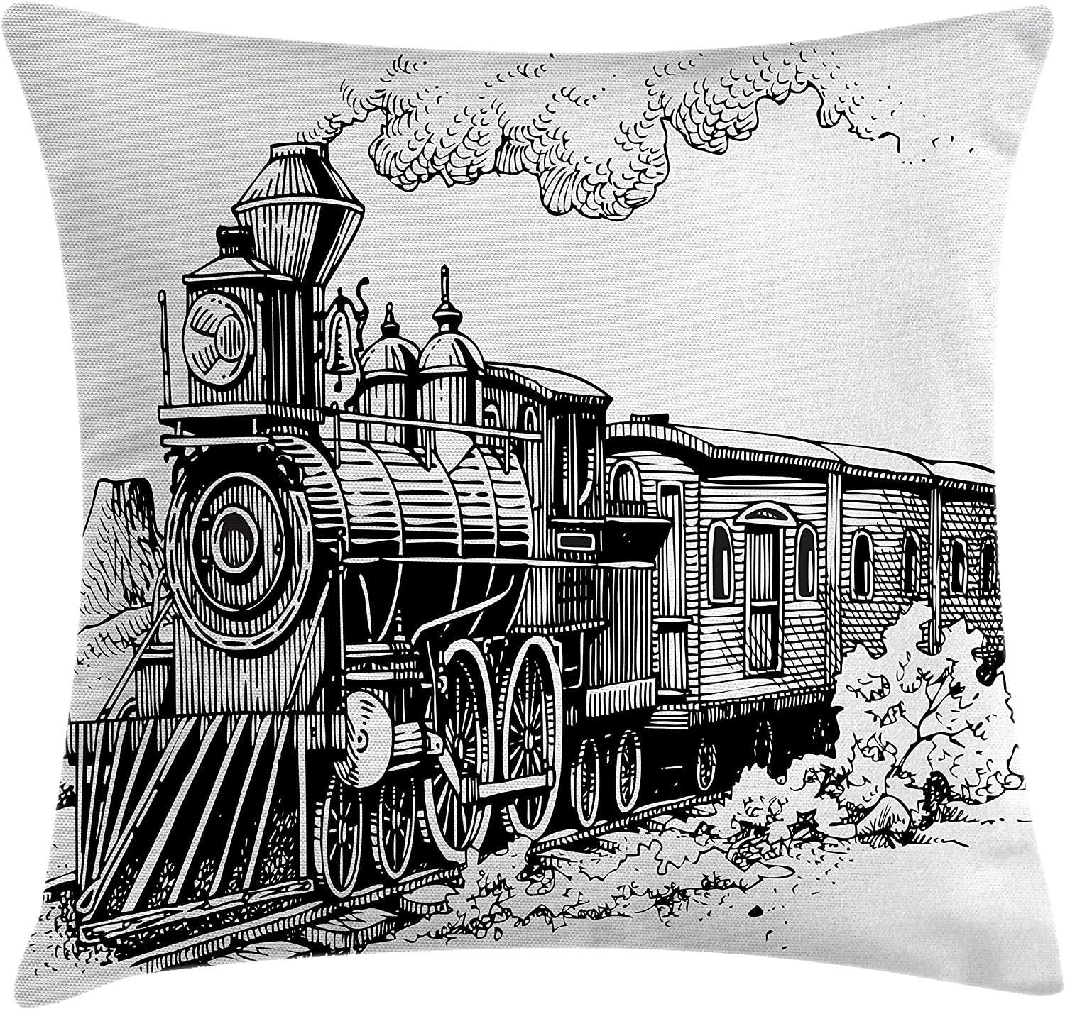 Amazon Com Ambesonne Steam Engine Throw Pillow Cushion Cover Rustic Old Train In Country Locomotive Wooden Wagons Rail Road With Smoke Decorative Square Accent Pillow Case 16 X 16 Black And White Home