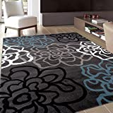 "Rugshop Contemporary Modern Floral Flowers Area Rug, 5' 3"" x 7' 3"", Gray"