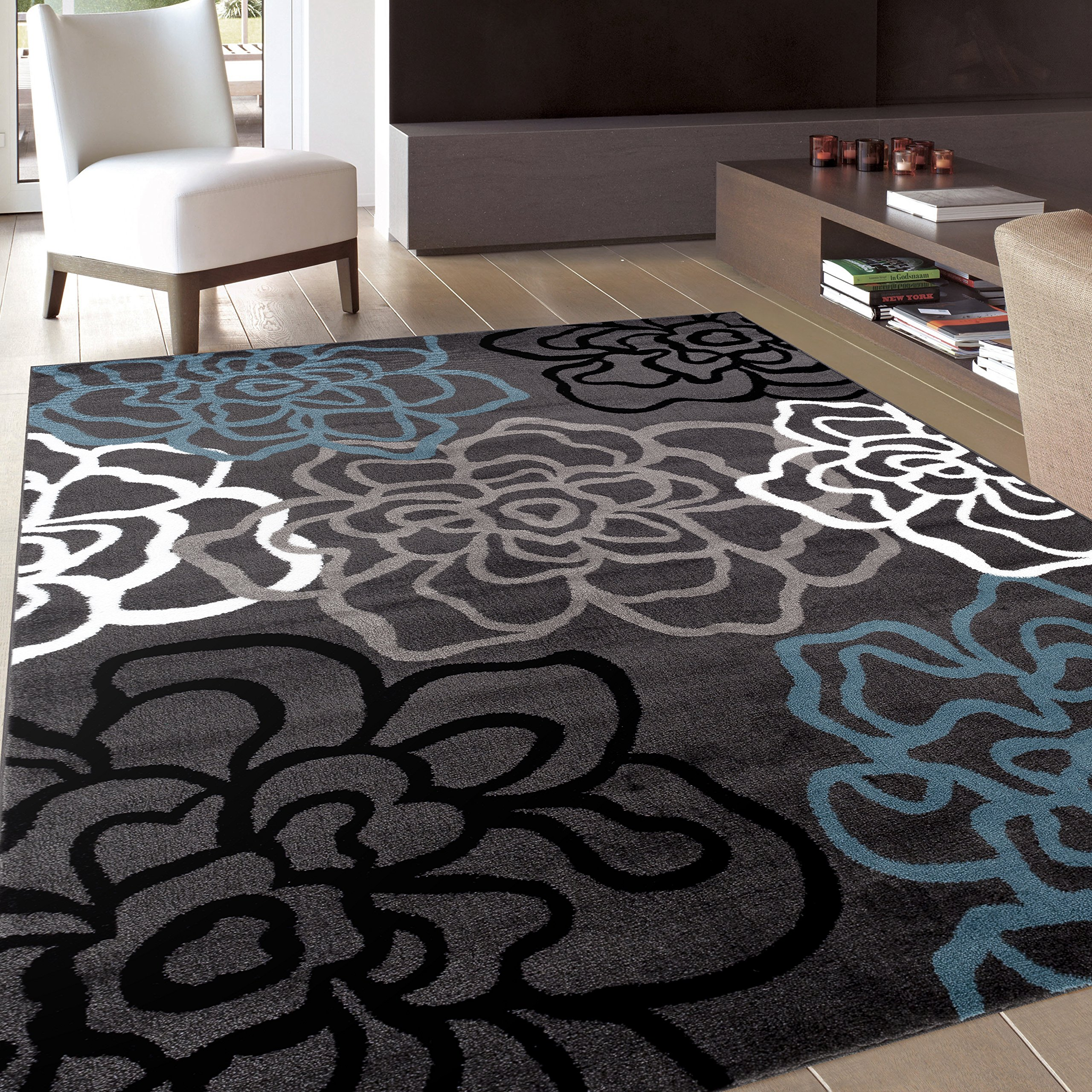 Contemporary Modern Floral Flowers Gray Area Rug 5' 3'' X 7' 3'' by Rugshop