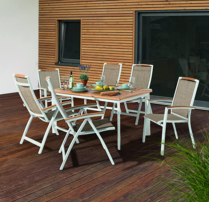 Sieger 687W Gartentisch mit Aluminium Gestell und Platte