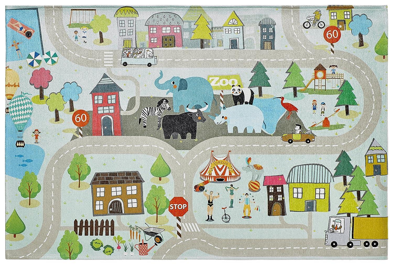 Flacher Kinderzimmer Teppich für das Kinderzimmer Print Bildteppich in satten Farben (160 x 230 cm, TOK 231 lustige Straße)