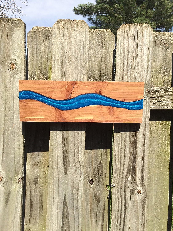 Blue epoxy river cedar wood wall art, mixed media art, resin river wall hanging, rustic home decor, man cave