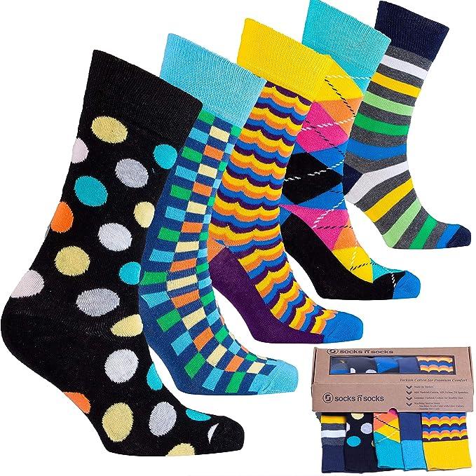 socks n socks-Hombre de 5 pares de lujo Divertido algodón Colorido Guay Vestido Calcetines