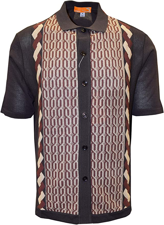 Vintage Shirts – Mens – Retro Shirts Edition S Mens Short Sleeve Knit Shirt- California Rockabilly Style: Multi Chain Links Design- 3012 $49.00 AT vintagedancer.com