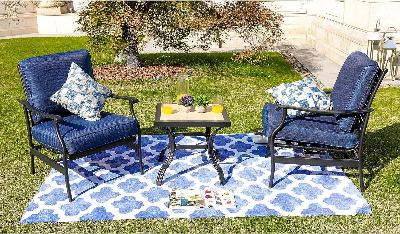 ONG Patio Furniture Sets 3 PCS Outdoor Folding Chair Conversation ...
