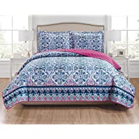 RT Designers Collection Fiona 3-Piece Reversible Quilt Set - King, Navy/Blue/White/Teal/Fuchsia/Coral