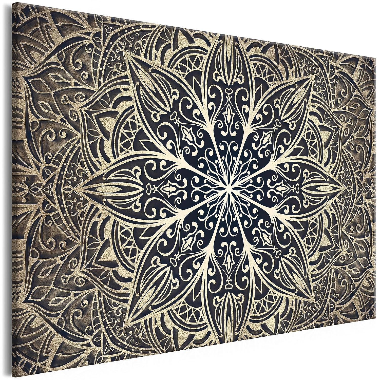 decomonkey Akustikbild Mandala 120x80 cm 1 Teilig Bilder Leinwandbilder Wandbilder XXL Schallschlucker Schallschutz Akustikdämmung Wandbild Deko leise Orient Muster Motive Gold