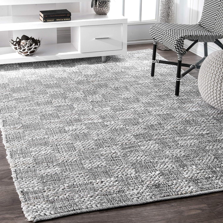Amazon Com Nuloom Zofia Braided Checkerboard Area Rug 4 X 6 Ivory Furniture Decor