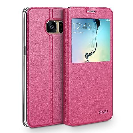 doupi Deluxe Ventana FlipCover para Samsung S6 Edge, Carcasa Case magnético Funda Caso tirón Estilo Libro Protector de Cuero Artificial, Rojo