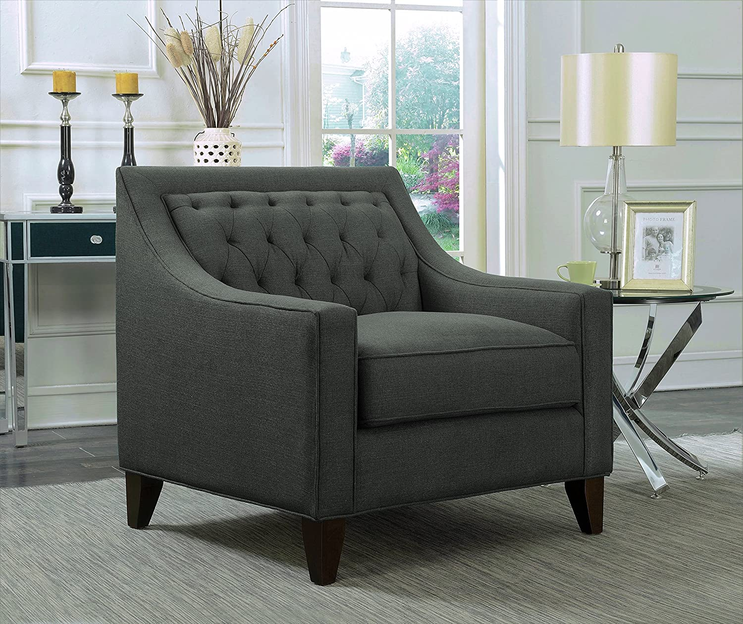 Iconic Home Aberdeen Linen Tufted Back Down Mix Modern Contemporary Club Chair, Grey
