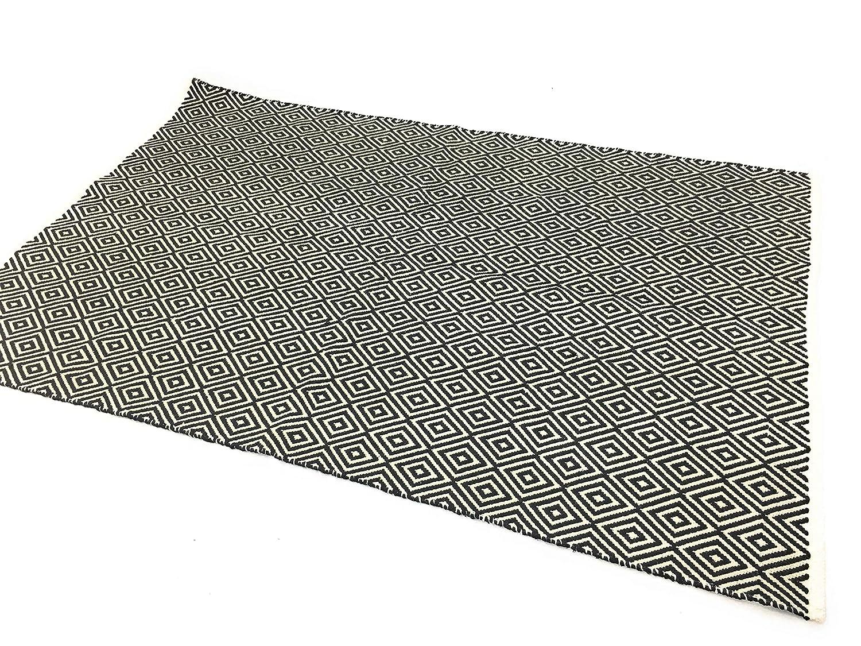 Second Nature Fair Trade Weiche Baumwolle Diamant Schwarz Weiß Natur Teppich 120 cm x 180 cm