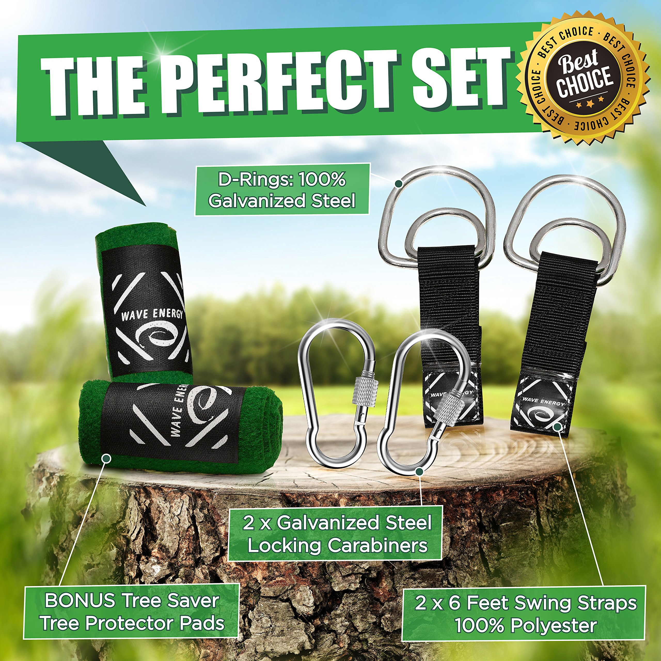 Tree Swing 6ft Straps Bundle By Wave Energy Easy