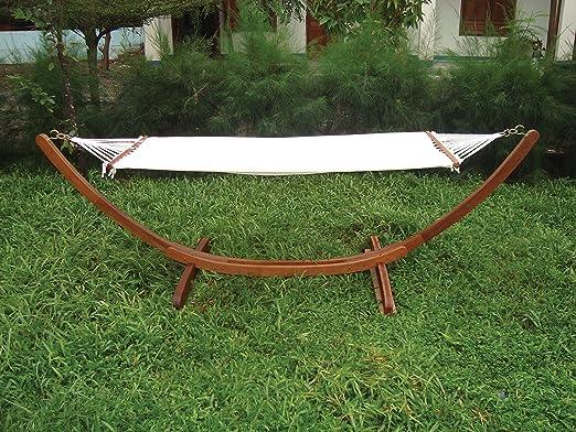 LuxuryGarden – Hamaca de jardín de madera autoportante tamaños 320 x 100 x 100h Muebles de jardín de exterior piscina: Amazon.es: Jardín