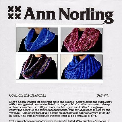 Amazon Ann Norling Pattern 72 Cowl On The Diagonal Arts