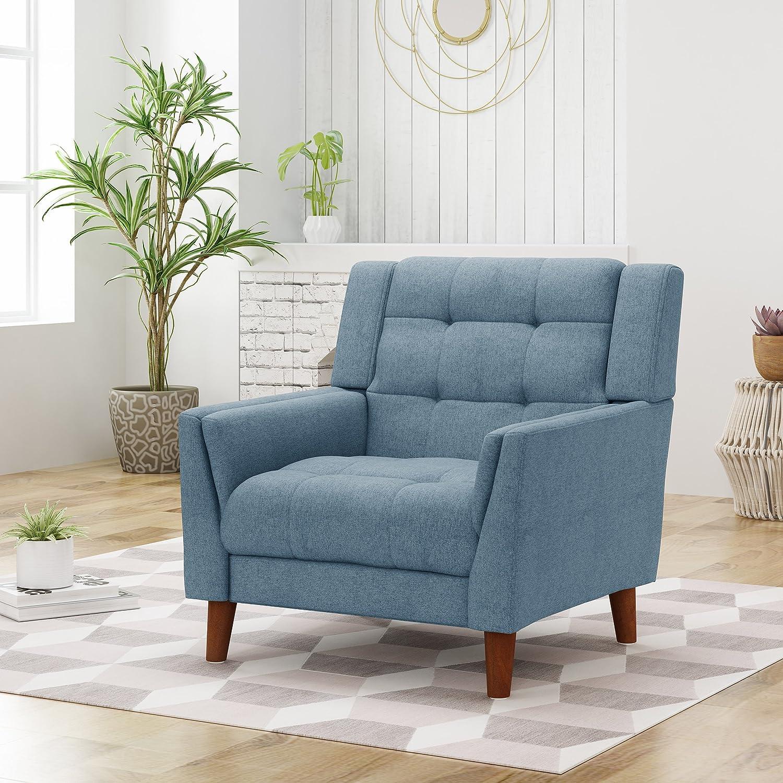 Alisa Mid Century Modern Fabric Arm Chair, Blue, Walnut