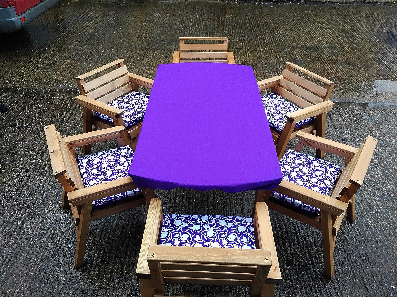 6 39 tisch 6 st hle holz garten patio m bel set mit kissen set lila jetzt kaufen. Black Bedroom Furniture Sets. Home Design Ideas