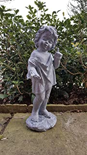 Home And Garden Products Large Cherub Garden Ornament Figure Aged Antique  Lead Effect Finish Little Boy