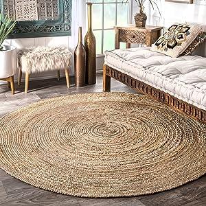 nuLOOM Rigo Hand Woven Jute Area Rug, 5' Round, Natural